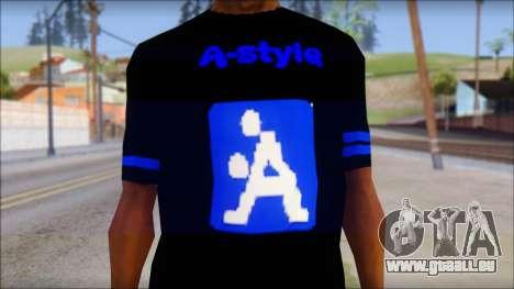 T-Shirt A-Style für GTA San Andreas dritten Screenshot