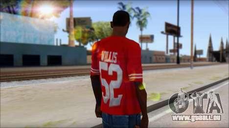 San Francisco 69ers 52 Willis Red T-Shirt pour GTA San Andreas deuxième écran