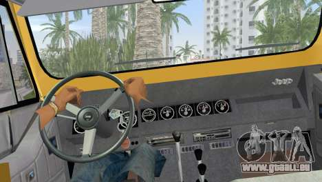 Jeep Wrangler 1986 v4.0 Fury für GTA Vice City zurück linke Ansicht