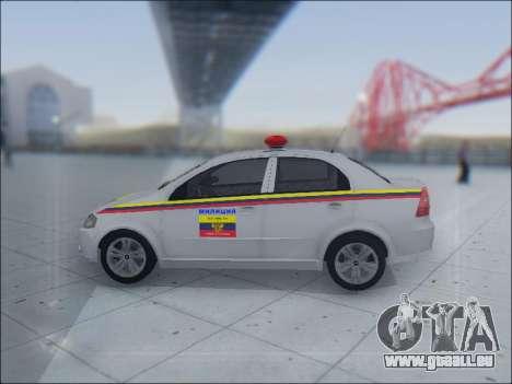 Chevrolet Aveo Милиция OHP pour GTA San Andreas vue de côté