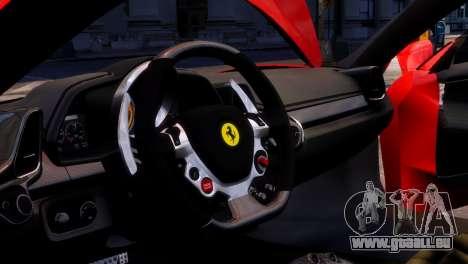 Ferrari 458 Italia 2010 pour GTA 4 est une vue de l'intérieur