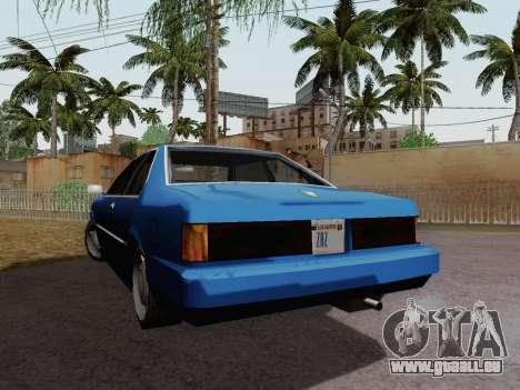Sentinel Coupe pour GTA San Andreas sur la vue arrière gauche
