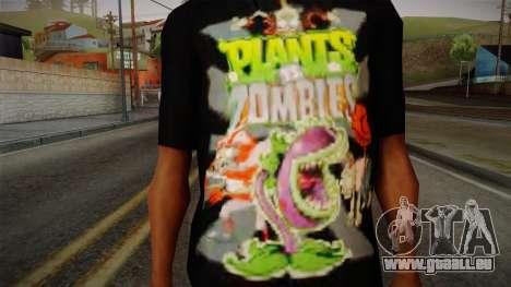 Plants versus Zombies T-Shirt pour GTA San Andreas troisième écran
