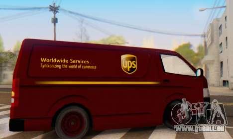 Toyota Hiace UPS Cargo Van 2006 pour GTA San Andreas laissé vue