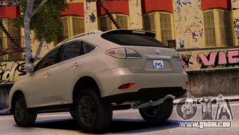 Lexus RX450H 2010 v1 pour GTA 4 est une gauche
