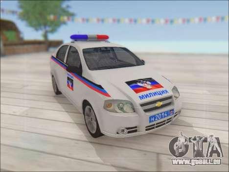 Chevrolet Aveo Polizei DND für GTA San Andreas Innenansicht