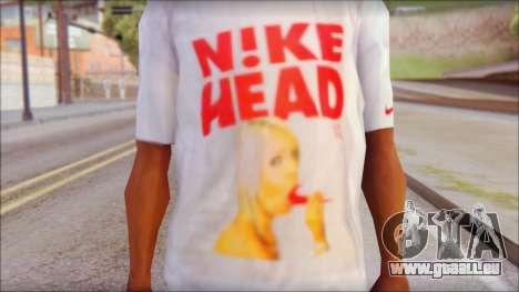 N1KE Head T-Shirt pour GTA San Andreas troisième écran