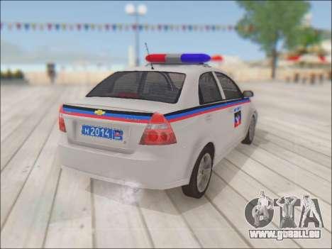 Chevrolet Aveo Police MDN pour GTA San Andreas vue arrière