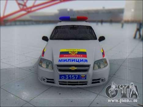 Chevrolet Aveo Милиция OHP pour GTA San Andreas laissé vue