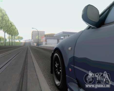 Nissan Skyline R34 Fast and Furious 4 für GTA San Andreas zurück linke Ansicht