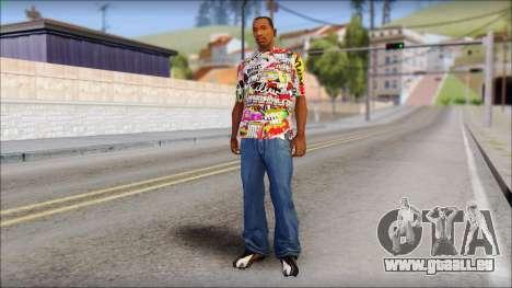 Sticker Bomb T-Shirt für GTA San Andreas dritten Screenshot