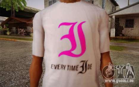 Everytime I Die T-Shirt pour GTA San Andreas troisième écran