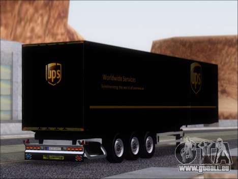 Прицеп United Parcel Service für GTA San Andreas rechten Ansicht