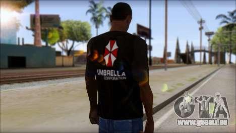 Umbrella Corporation Black T-Shirt für GTA San Andreas zweiten Screenshot
