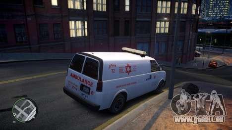 Israel MDA Ambulance pour GTA 4 Vue arrière