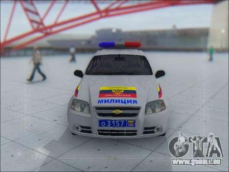 Chevrolet Aveo Милиция OHP für GTA San Andreas Unteransicht