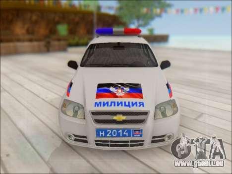 Chevrolet Aveo Police MDN pour GTA San Andreas vue de côté