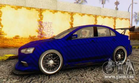 Mitsubishi Lancer EVO X Carbon Coloured für GTA San Andreas zurück linke Ansicht