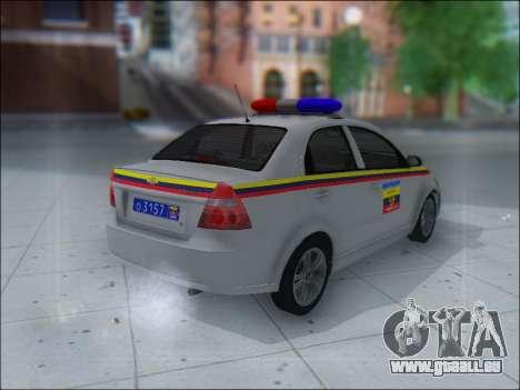 Chevrolet Aveo Милиция OHP pour GTA San Andreas vue de droite