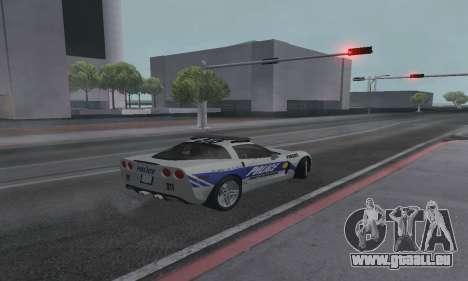 Chevrolet Corvette Z06 Police pour GTA San Andreas laissé vue