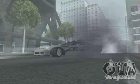 Chevrolet Corvette Z06 Police pour GTA San Andreas sur la vue arrière gauche