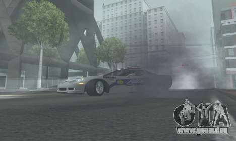 Chevrolet Corvette Z06 Police für GTA San Andreas zurück linke Ansicht