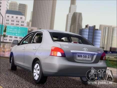 Toyota Yaris 2008 Sedan pour GTA San Andreas sur la vue arrière gauche