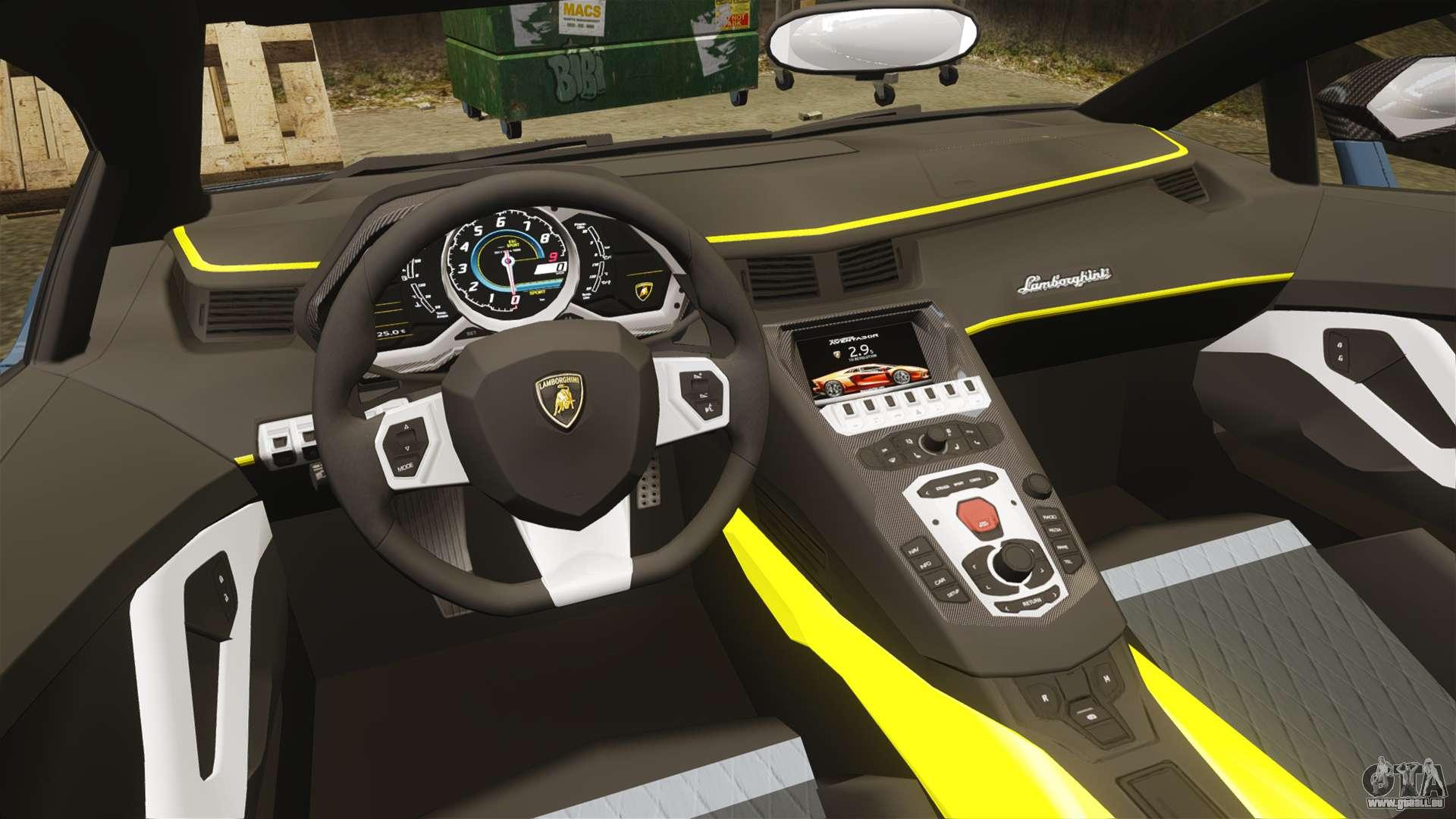 Lamborghini aventador lp720 4 50th anniversario pour gta 4 for Interieur lamborghini