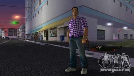 Kockas polo - lila T-Shirt für GTA Vice City Screenshot her