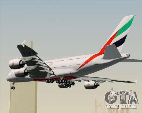 Airbus A380-841 Emirates pour GTA San Andreas vue arrière