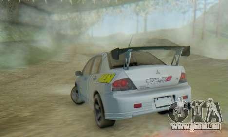 Mitsubishi Lancer Turkis Drift Aem pour GTA San Andreas vue intérieure