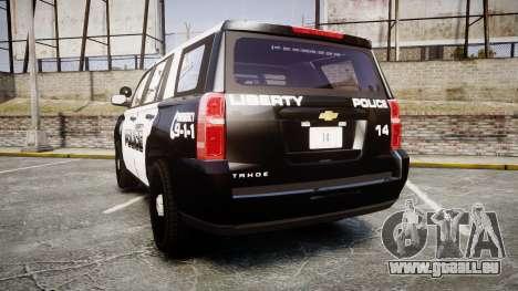 Chevrolet Tahoe 2015 Liberty Police [ELS] für GTA 4 hinten links Ansicht