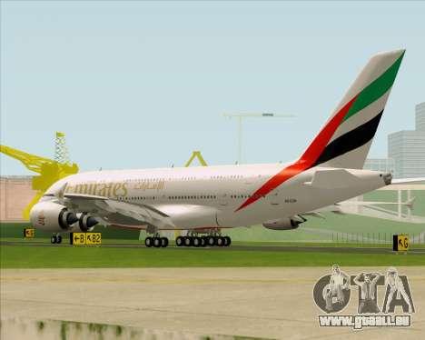 Airbus A380-841 Emirates pour GTA San Andreas sur la vue arrière gauche