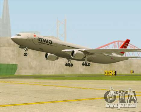 Airbus A330-300 Northwest Airlines pour GTA San Andreas roue
