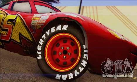 Lightning McQueen pour GTA San Andreas sur la vue arrière gauche