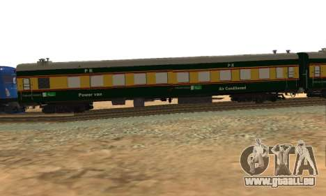 Pakistan Railways Train pour GTA San Andreas sur la vue arrière gauche