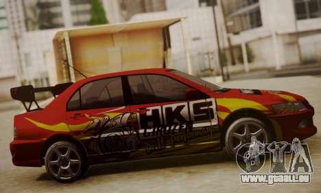 Mitsubishi Lancer Evo 8 pour GTA San Andreas laissé vue