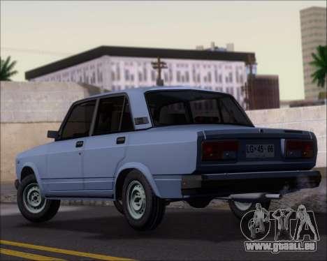 LADA 2107 pour GTA San Andreas sur la vue arrière gauche
