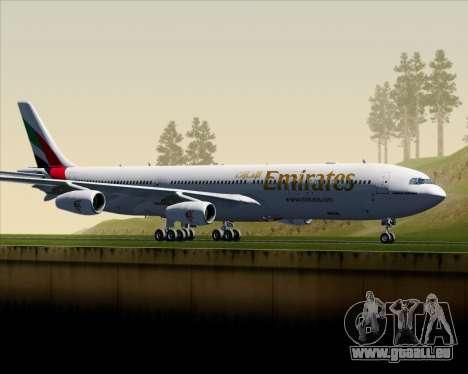 Airbus A340-313 Emirates für GTA San Andreas linke Ansicht