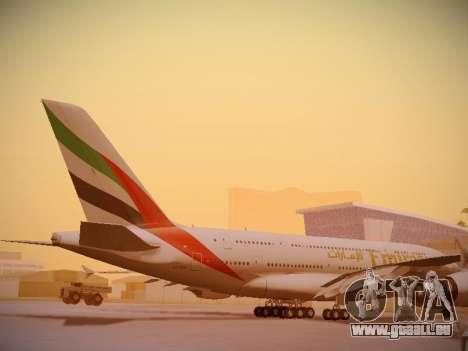Airbus A380-800 Emirates für GTA San Andreas Seitenansicht