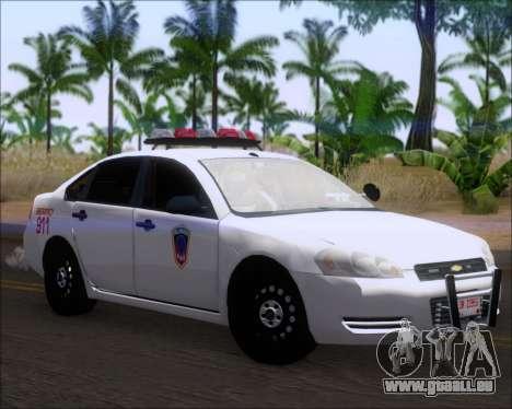 Chevrolet Impala 2006 Tallmage Batalion Chief 2 pour GTA San Andreas laissé vue