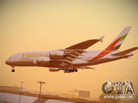 Airbus A380-800 Emirates für GTA San Andreas obere Ansicht