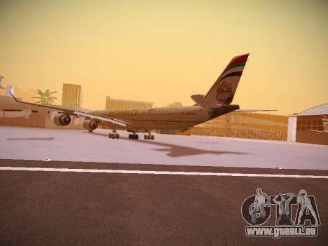 Airbus A340-600 Etihad Airways pour GTA San Andreas sur la vue arrière gauche