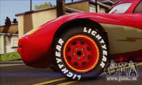 Lightning McQueen Radiator Springs für GTA San Andreas zurück linke Ansicht