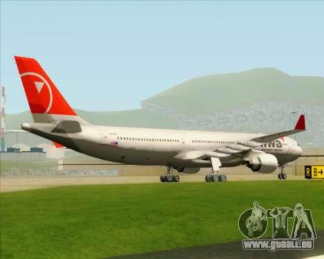 Airbus A330-300 Northwest Airlines für GTA San Andreas Rückansicht