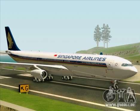 Airbus A340-313 Singapore Airlines für GTA San Andreas zurück linke Ansicht