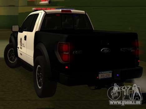 LAPD Ford F-150 Raptor pour GTA San Andreas laissé vue