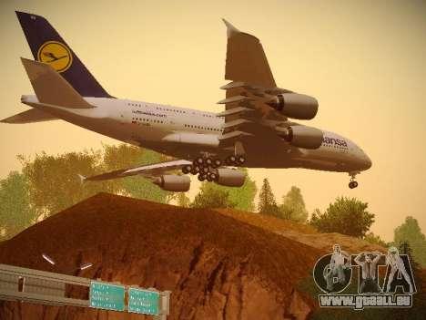 Airbus A380-800 Lufthansa pour GTA San Andreas vue arrière