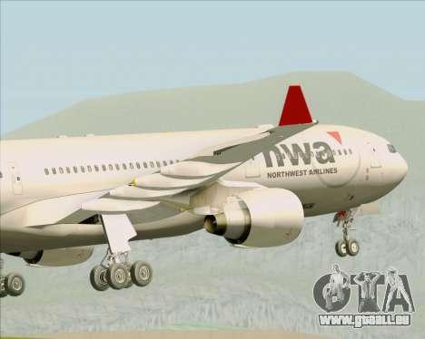 Airbus A330-300 Northwest Airlines für GTA San Andreas Unteransicht