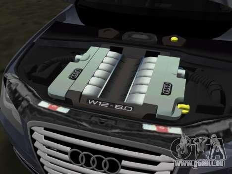 Audi A8 2010 W12 Rim6 für GTA Vice City obere Ansicht
